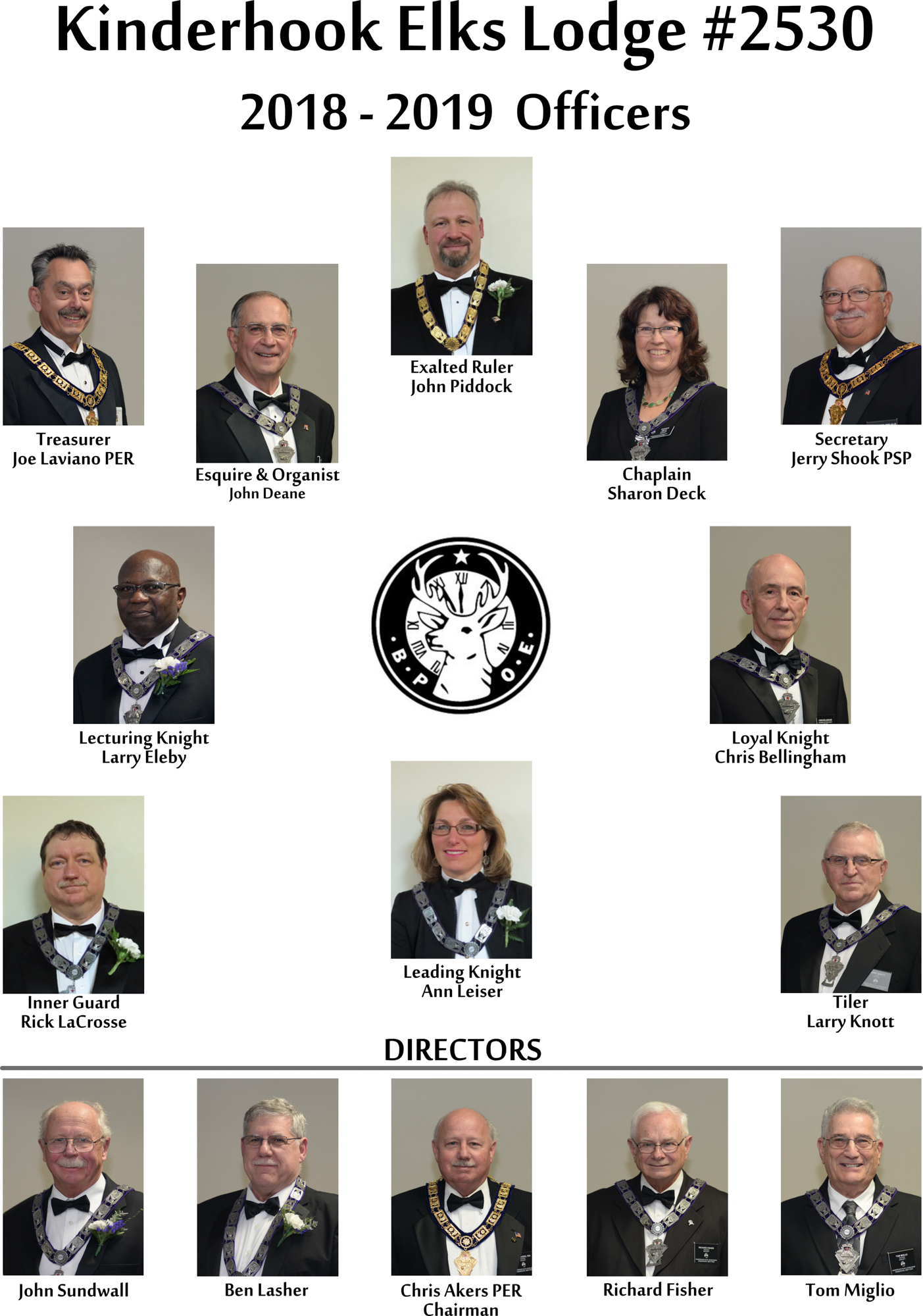 Kinderhook Elks Lodge Officers 2018