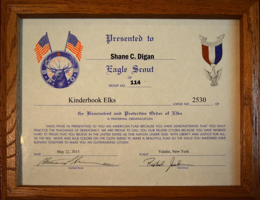 Kinderhook Elks Lodge 2530 May 23rd 2015 Eagle Scout Award